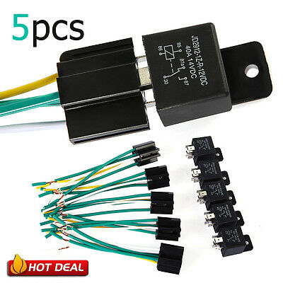 5x 40A 12V 5 Pin Relay Switch W/ Socket Holder For Car Truck Van Motorcycle Boat