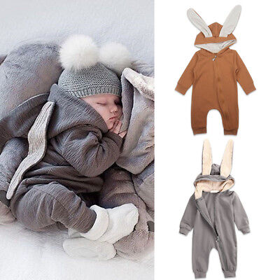 Bunny Rabbit Ear Hooded Romper Bodysuit Clothes Outfit for Toddler Baby Girl Boy - Holiday Clothing For Toddlers