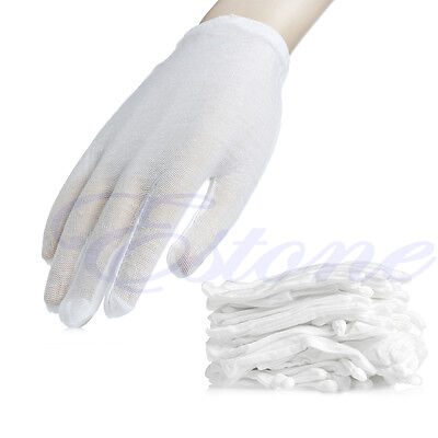 12 Pairs White Cotton Gloves Moisturising Health Work Hand Protection Safety New