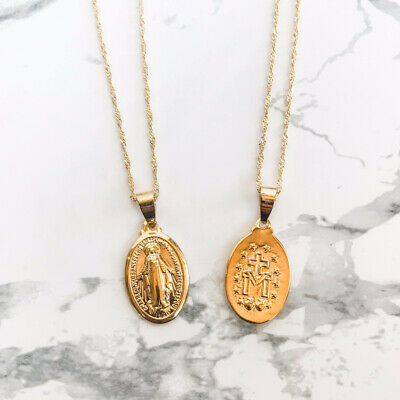 - Virgin Mary Necklaces Dainty Gold Medallion Necklace Mother Pendant Religious