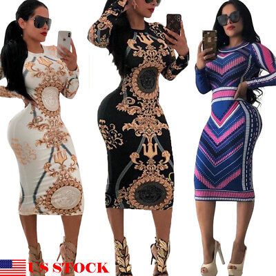 Womens Dressing - US Fashion Womens Long Sleeve Print Bodycon Clubwear Cocktail Party Sexy Dresses