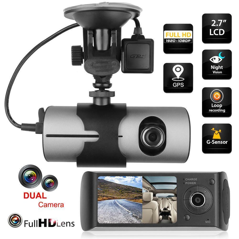 """Dual-Lens 2.7"""" LCD HD Car DVR Camera GPS Logger G-sensor Das"""