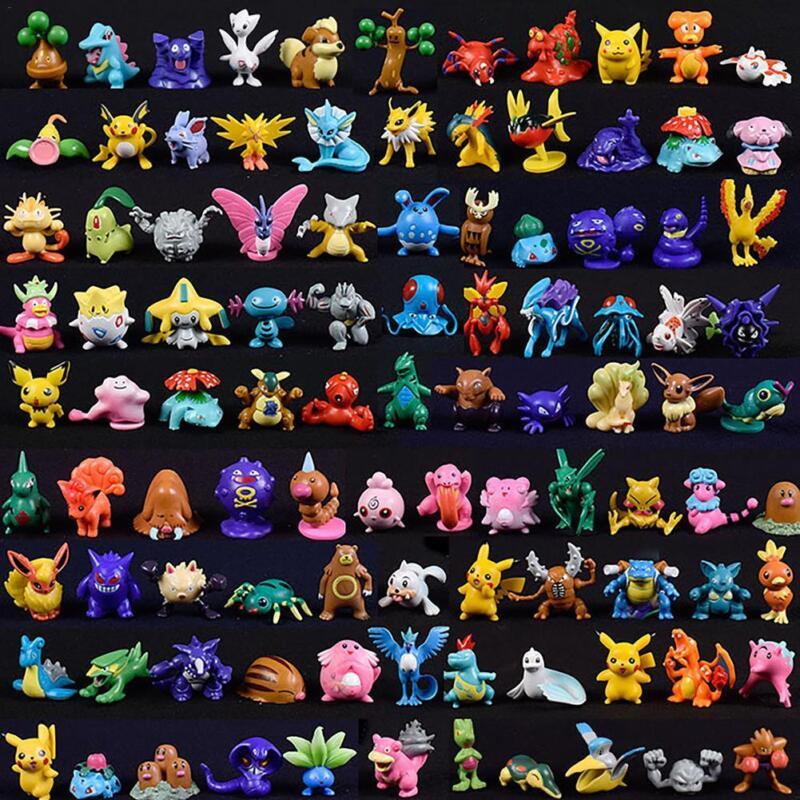 144 pcs 3cm pokemon toy set mini figurines pokémon go monster vinyle