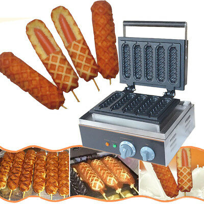 110V Commercial Nonstick Electric 5pcs Waffle Dog Maker Lolly Waffle Stick Baker, used for sale  USA