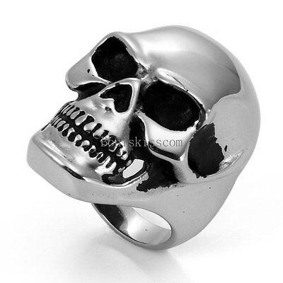 Heavy Gothic Skull Biker Stainless Steel Men's Ring High Polish Halloween Gift - Halloween Gifts For Men