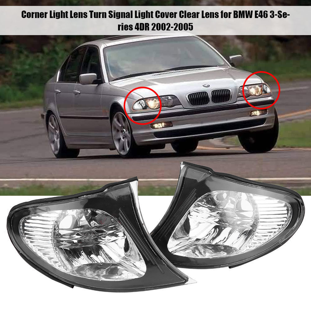 Details About Pair L R Euro Corner Lights Crystal Clear Lens For Bmw 02 05 E46 3 Series Sedan