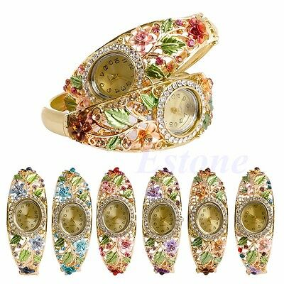 Women's Cuff Bangle Bracelet Rhinestone Flower Hollow Golden Quartz Wrist - Flower Cuff Bangle Watch