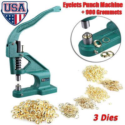 3 Dies Grommet Eyelet Hole Punch Machine Hand Press Banner Bag 900grommets Kit