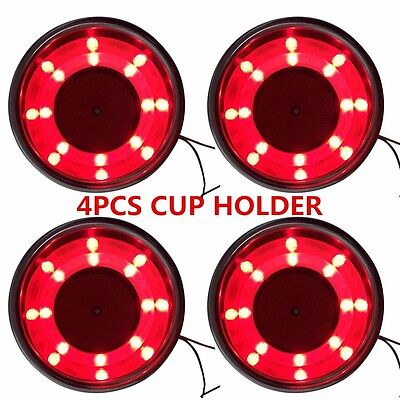4Pcs Stainless Steel Cup Drink Holder Red LED Built-in for seat / table / Boat