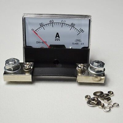 Dc 100a Analog Amp Panel Meter Current Ammeter At-670 Shunt