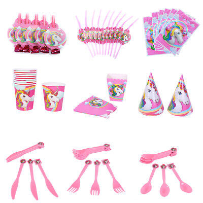 Unicorn Theme Party Supplies Decor Happy Birthday Paper Cup Plate Hat Fashion