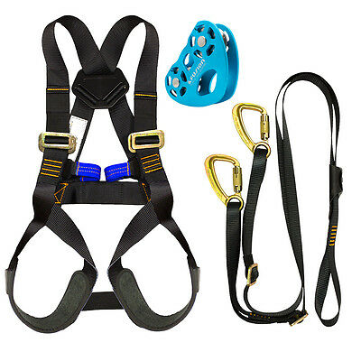 Fusion Kids Backyard Zip Line Kit Harness Lanyard Trolley Bundle FK-K-HLT-02