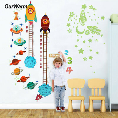 Kids Baby Planets Space Rocket Height Chart Measure Home Wall Sticker Room Decor - Space Decorations