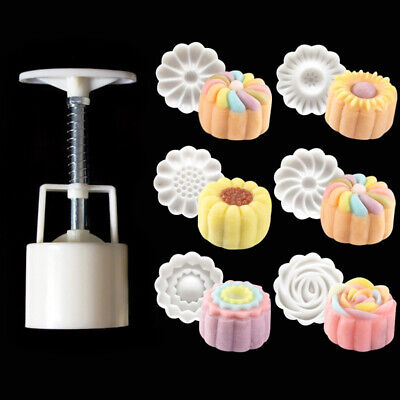 6Style Stamps Round Flower Moon Cake Mold Mould White Set Mooncake Mold DIY Tool](Diy Diaper)