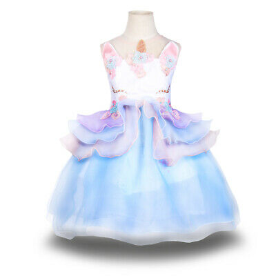 Girls Unicorn Fancy Costume Pageant Party Birthday Dress Up Flower Princess Tutu