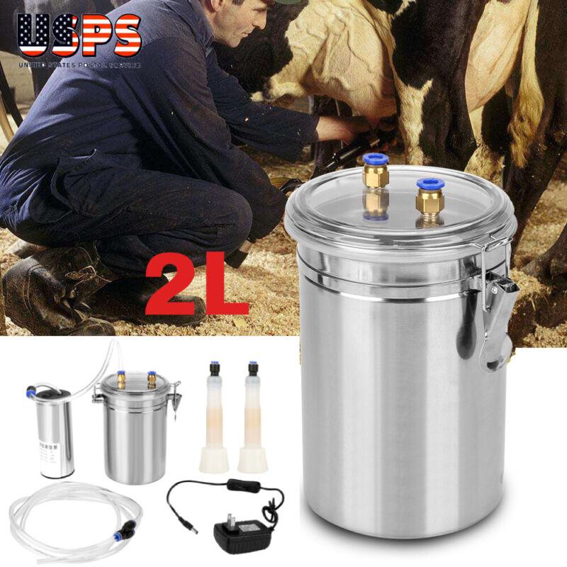 2L Portable Vacuum Pump Electric Milking Machine For Farm Cow Sheep Goat USA