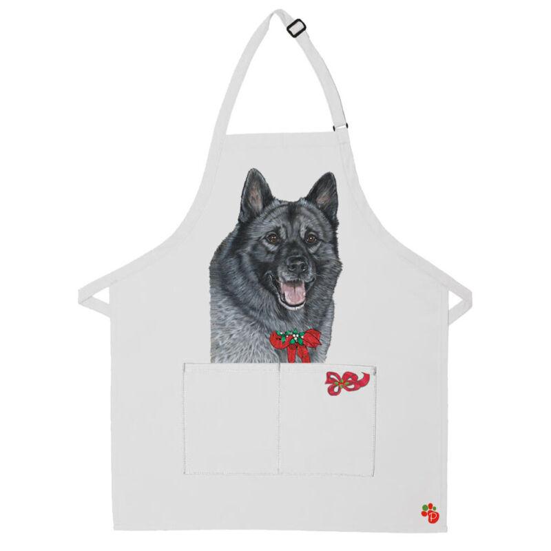 Norwegian Elkhound Dog Christmas Apron Two Pocket Bib Apron with Adj Neck