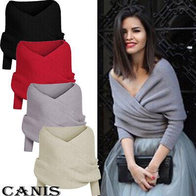 Fashion Women Cross Front Wrap Sweater Top Long-Sleeve Knit Cardigan Scarf -