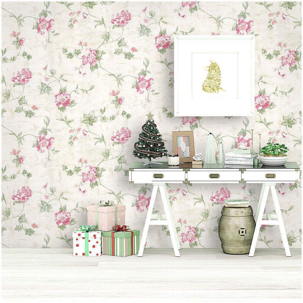 Peel And Stick Floral Wallpaper Victorian Ivory Pink Green Contact