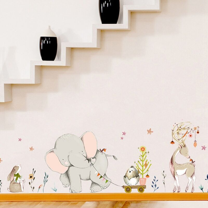 Large Elephant Removable Wall Stickers Nursery Bedroom Home Kids Decals HQYL