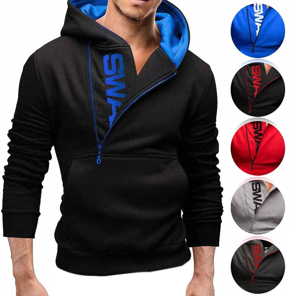 US Mens Winter Slim Hoodie Warm Hooded Sweatshirt Coat Jacket Outwear Sweater