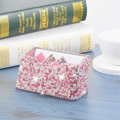 Shiny Rhinestone Business Card Holder Stand Name Card Organizer Pocket Case Pink