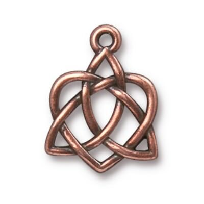 TierraCast Small Celtic Open Heart Drop, Antiqued Copper Plated Pewter (T461)