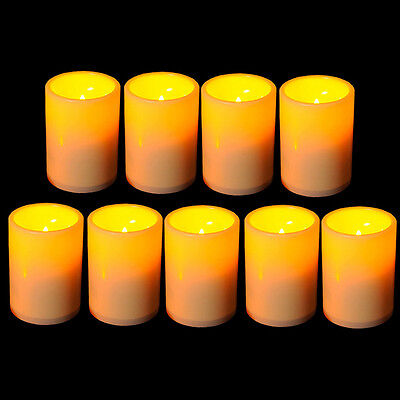 9x Flickering Flameless Resin Pillar LED Candle Lights w/Tim
