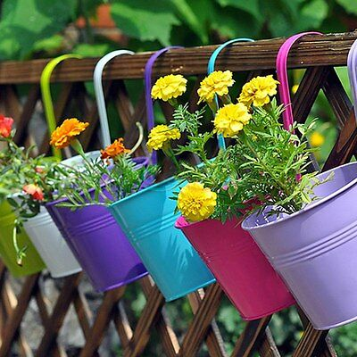 10x Home Garden Balcony Metal Flower Pastoral Plant Pots Planter With Hanging