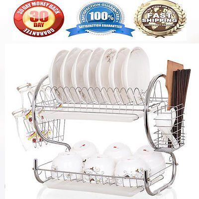 Kitchen organization holder 2 Tier Stainless Steel Dish Drainer Drying Rack US G