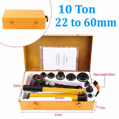 10 Ton Hydraulic Knockout Punch Driver Kit 6 Dies 22 To 60mm Hole Punch Tool