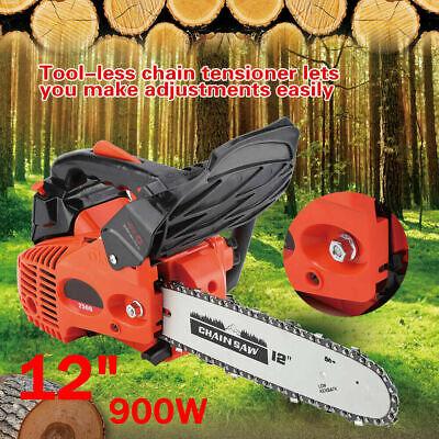 "12"" 25.4CC Gas Powered Wood Chainsaw Chain Saw Machine Trimming Cutting Tool US"