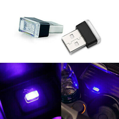 2xPink Purple USB Ambient LED Lighting Kit For Car Interior Decoration Universal