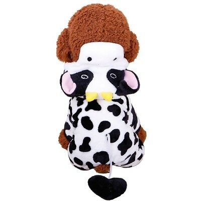Cute Pet Dog Cat Dairy Cow Clothes Funny Puppy Costume Christmas Hoodie Dress US (Cute Christmas Costumes)