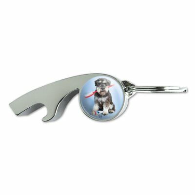 Schnauzer Puppy Dog with Toothbrush Dentist Metal Whistle Bottle Opener Keychain