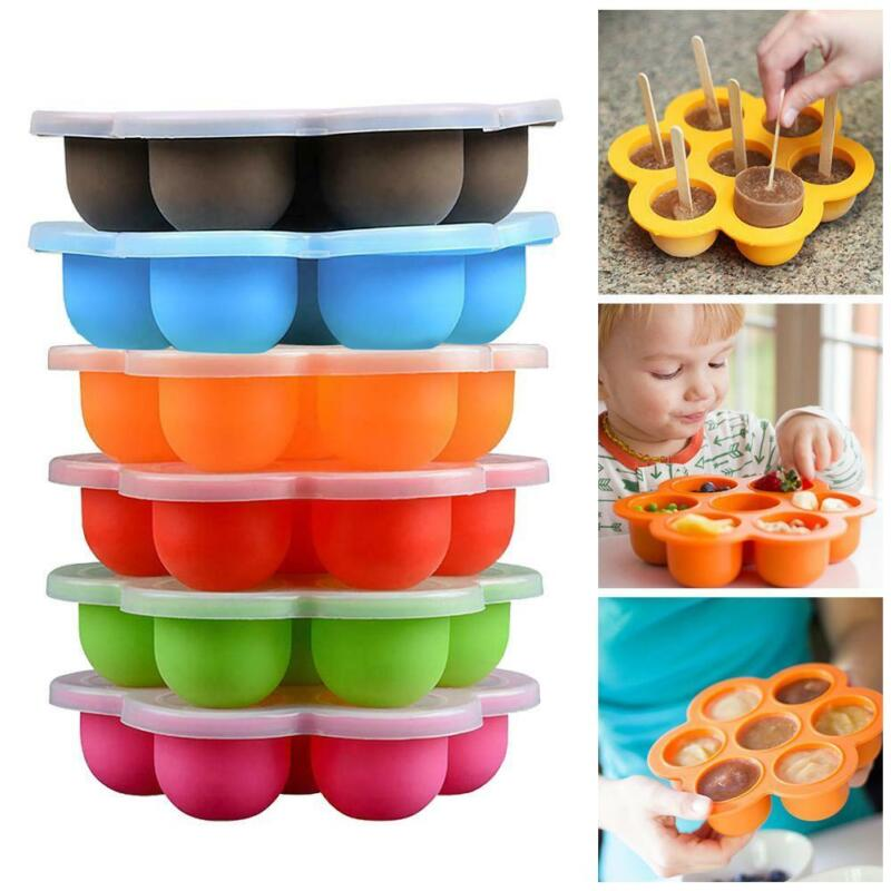 Silicone Homemade Baby Food Tray Clip-on Lid Freezer Storage Container Servings