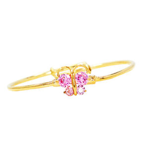 Gold Filled 18k Pink Crystal Baby Girl Adjustable Butterfly Bangle Bracelet Kids