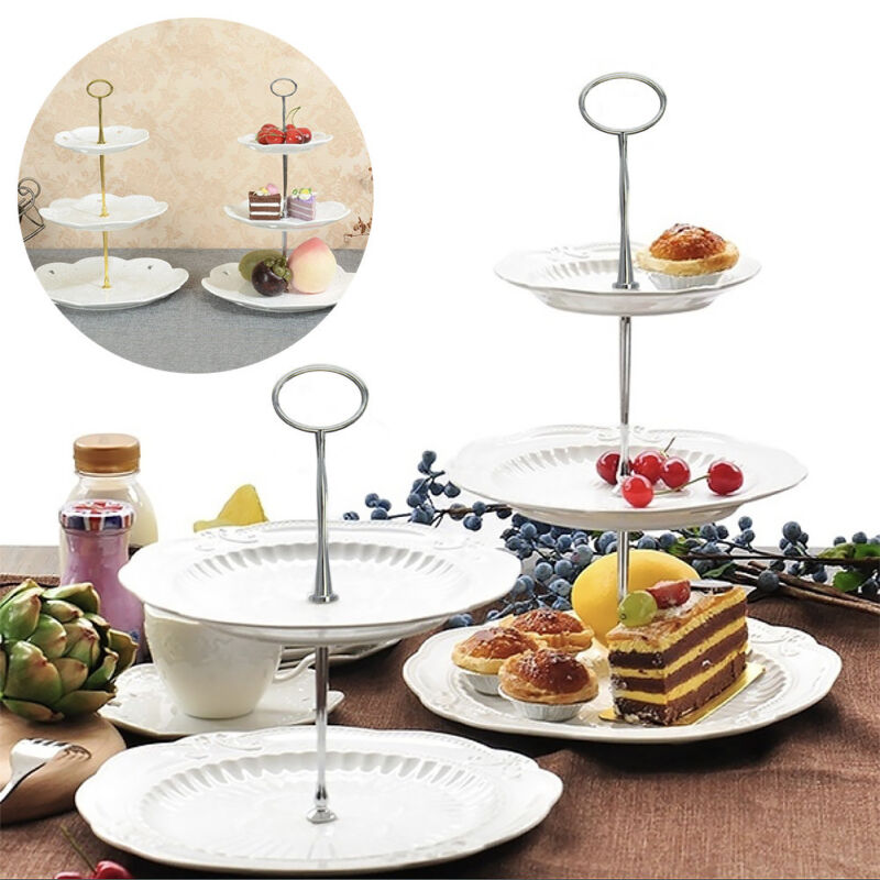 1 * cake plate stand (Plates not included)  sc 1 st  eBay & 3 Tier Cake Cupcake Plate Stand Party Metal Handle Hardware Rod ...