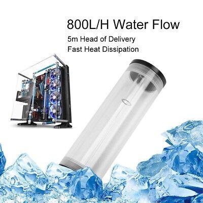 PC Water Cooling 160mm Tank Cylinder Reservoir Pump Combo Set 19W 12V 800L/H USA