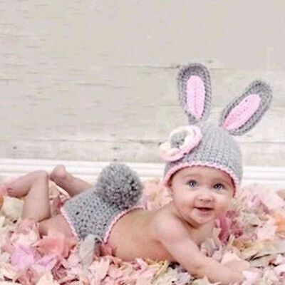 NEW Baby Girl Easter Bunny Rabbit Crochet Hat Diaper Cover Photo Prop Outfit Set