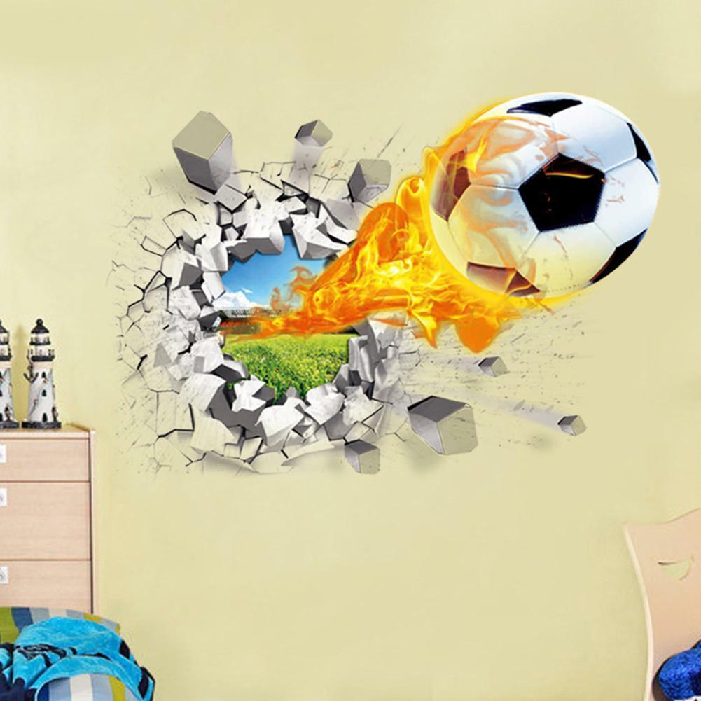 3D Football Wall Sticker Vinyl Removable Art Decal Kids Boy Room ...