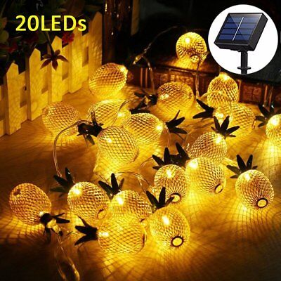 Christmas Pineapple - Waterproof Metal Pineapple 20 LEDs Solar String Fairy Lights for Vase Xmas Party
