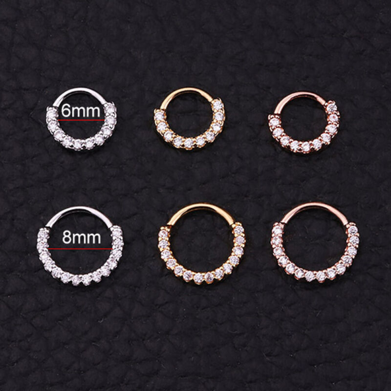 1PC Cartilage Helix Tragus Daith Conch Hoop Earring Nose Ring CZ Ear Piercing.