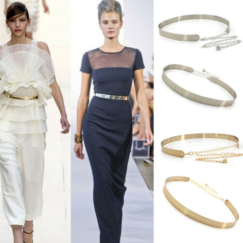 Women Fashion Gold Belt High Waist Metal Mirror Metallic Pla