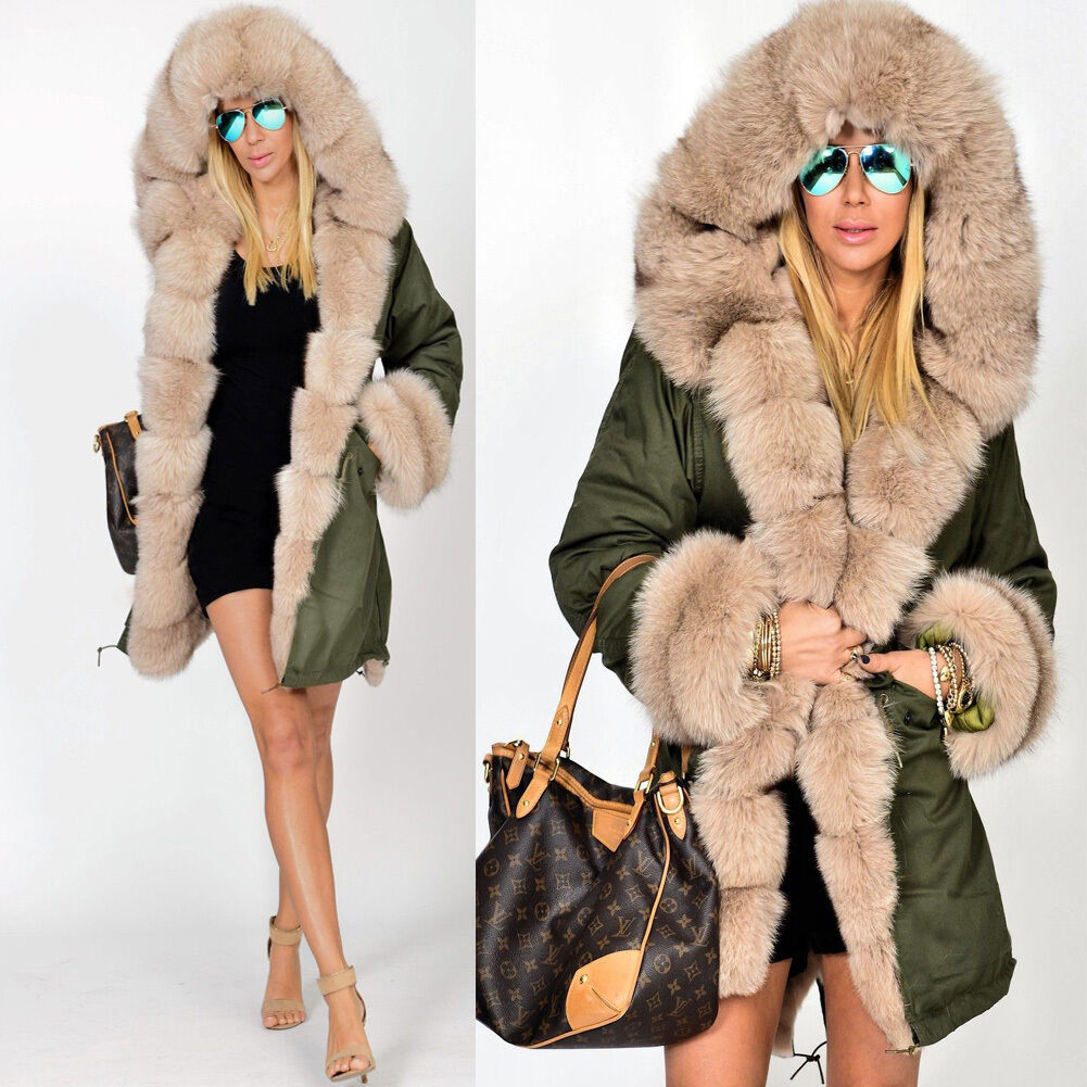 roiii ladies hooded parka faux fur winter warm women casual long jacket coat top ebay. Black Bedroom Furniture Sets. Home Design Ideas