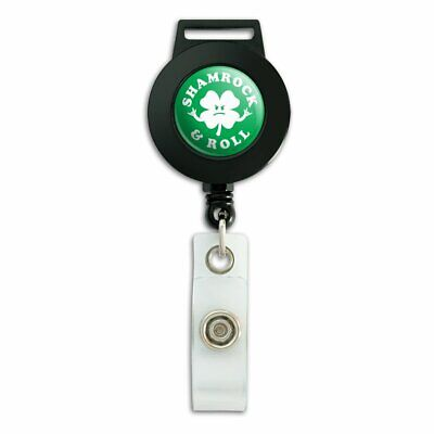 Shamrock and Roll Irish Rock Funny Humor Lanyard Reel Badge ID Card (Shamrock Lanyard)