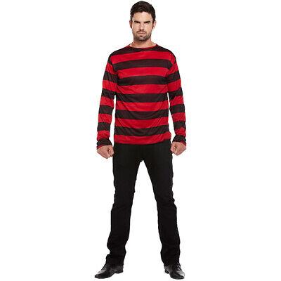 Bandit Gestreifter Pullover Kostüm Rot Schwarz - Halloween Fasching - Bandit Kostüm Halloween