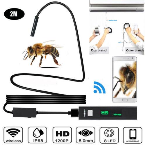 2M 8LED Wireless Endoscope WiFi Borescope Inspection Camera