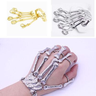 Women's Hand Chain Gold Skull Fingers Metal Skeleton Fashion Slave Bracelet - Skeleton Hand Ring Bracelet