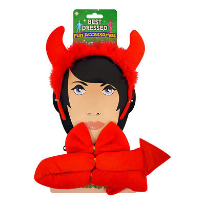 Blue Banana Halloween Fancy Dress Red 3 Piece Devil Set - Horns, Tail And Bow (Blue Devil Halloween Costume)